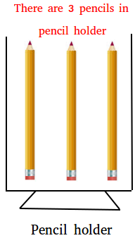 3 pencils in a pencil holder