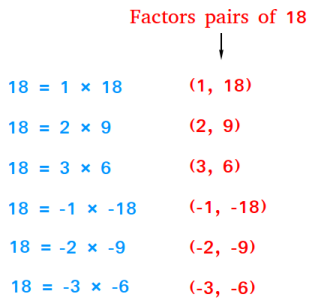Factor pairs of 18