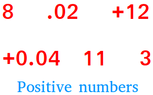 Positive numbers