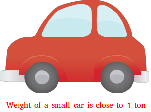Weight of a small car is close to 1 ton